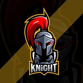Schattige ridder mascotte logo esport ontwerp