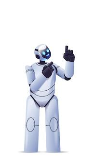 Schattige robot cyborg wijzend op iets modern robotachtig karakter kunstmatige intelligentie technologie