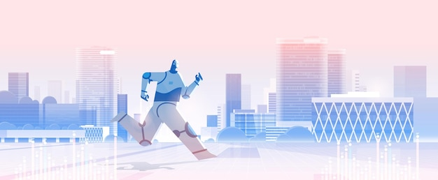 Schattige robot die op stadsgezicht draait