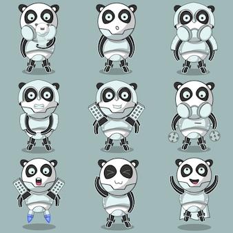 Schattige robot machine panda stripfiguur
