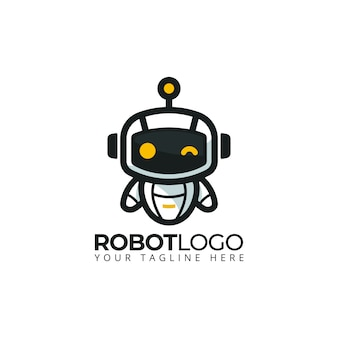 Schattige robot mascotte logo cartoon karakter illustratie