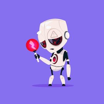 Schattige robot met rode bliksem lage lading geïsoleerd pictogram op blauwe achtergrond moderne technologie kunstmatige intelligentie