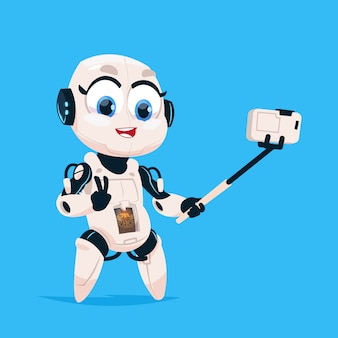Schattige robot nemen selfie foto robotachtig meisje geïsoleerd pictogram op blauwe achtergrond