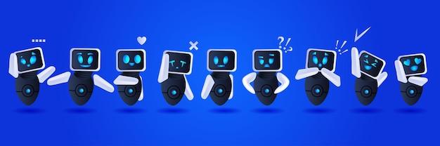 Schattige robots groep bespreken tijdens vergadering communicatie kunstmatige intelligentie technologie concept volledige lengte horizontale vectorillustratie