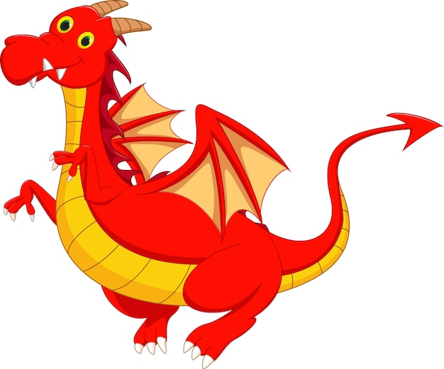 Schattige rode draak vliegen