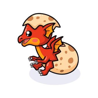Schattige rode kleine draak cartoon die uit ei komt