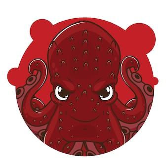 Schattige rode octopus avatar