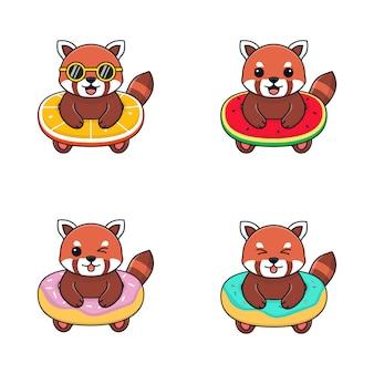 Schattige rode panda met zwemring oranje, watermeloen en donut