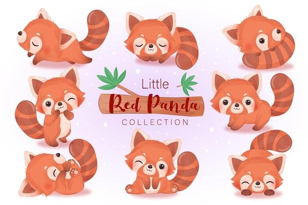 Schattige rode pandaillustratie in waterverf voor kinderkamerdecoratie