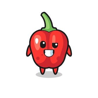 Schattige rode paprika-mascotte met een optimistisch gezicht, schattig stijlontwerp voor t-shirt, sticker, logo-element