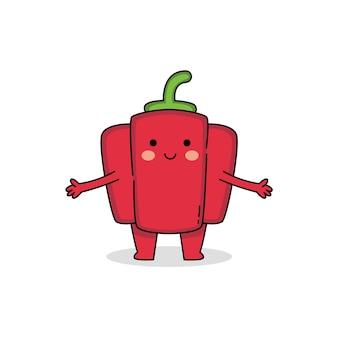 Schattige rode paprika stripfiguur