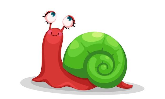 Schattige rode slak cartoon vectorillustratie