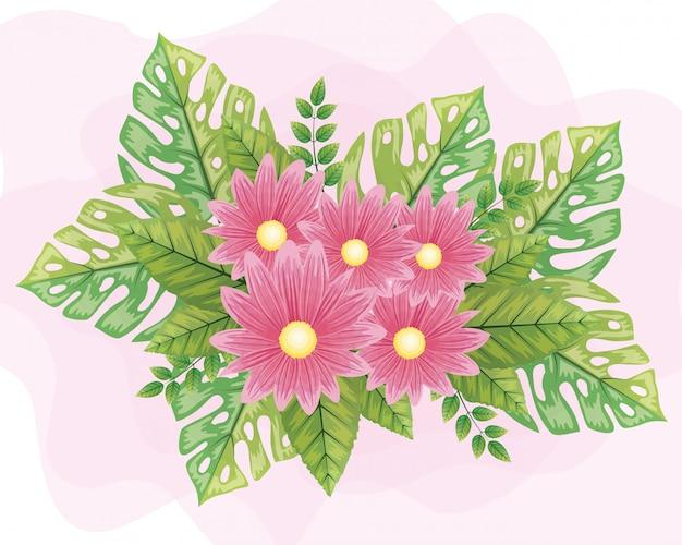Schattige roze bloemen met bladeren