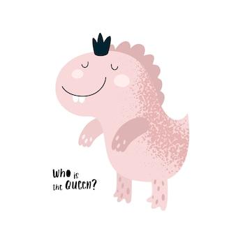 Schattige roze dinosaurus prinses baby