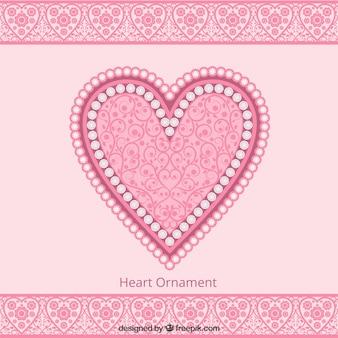 Schattige roze hart ornament achtergrond