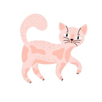 Schattige roze kat voor kinderprints