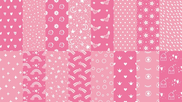 Schattige roze naadloze patronen.