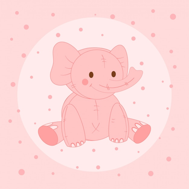 Schattige roze olifant, ansichtkaart voor kinderen