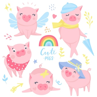Schattige roze varkens vector set. elementen voor nieuwjaarsontwerp. symbool van 2019 op de chinese kalender. varken illustratie geïsoleerd op wit. tekenfilm dieren. grappige stickers.