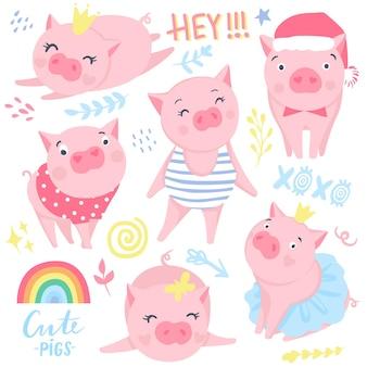 Schattige roze varkens vector set. elementen voor nieuwjaarsontwerp. symbool van 2019 op de chinese kalender. varken illustratie geïsoleerd op wit. tekenfilm dieren.