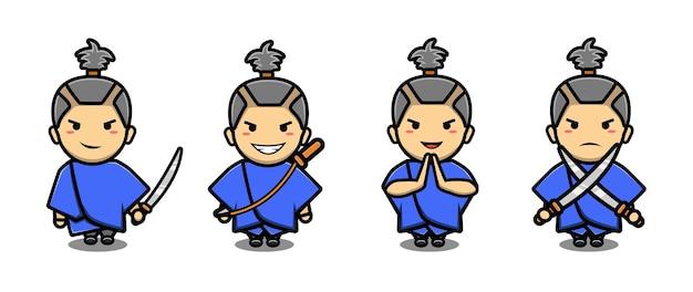 Schattige samurai jongen mascotte tekenfilm set