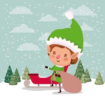 Schattige santa helper met slee