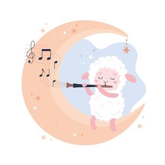 Schattige schapen baby dier concept illustratie voor kinderdagverblijf, karakter voor kinderen