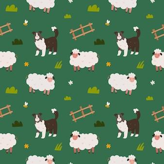 Schattige schapen en border collie hond naadloze patroon