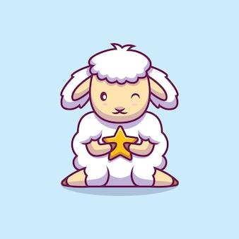 Schattige schapen houden ster cartoon afbeelding
