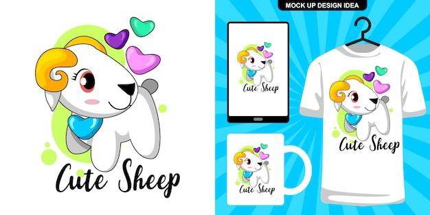 Schattige schapen illustratie en merchandising