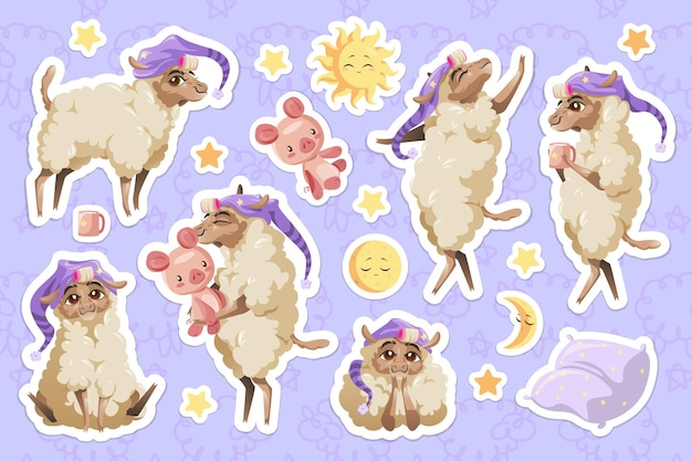 Schattige schapen in slaapmutsje cartoon dieren stickers set