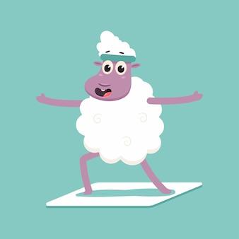 Schattige schapen in yoga pose. grappige vector lam stripfiguur geïsoleerd op een spatie.