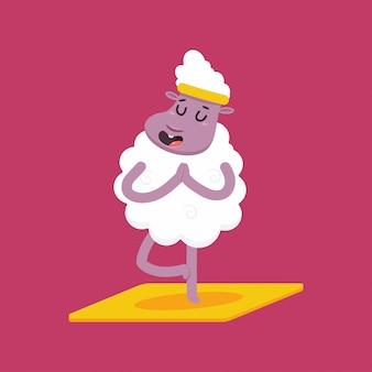 Schattige schapen in yoga pose. grappige vector lam stripfiguur geïsoleerd
