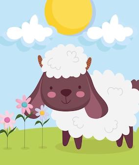 Schattige schapen met bloemen