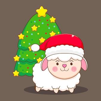 Schattige schapen met kerstboom met kerstmuts