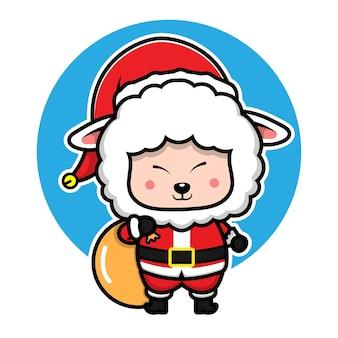 Schattige schapen met santa kostuum cartoon karakter dierlijke kerst concept