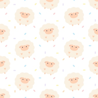 Schattige schapen naadloze achtergrond herhalend patroon, wallpaper achtergrond, schattige naadloze patroon achtergrond