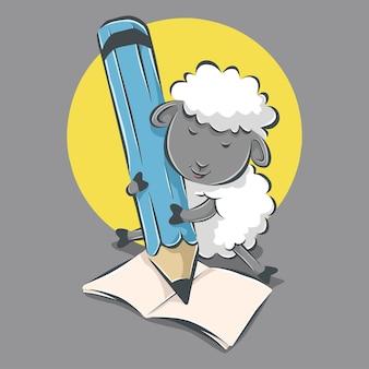 Schattige schapen schrijven op peper cartoon pictogram illustratie