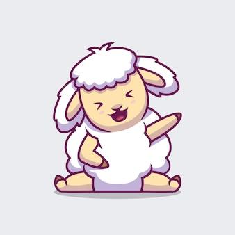Schattige schapen zwaaiende hand cartoon afbeelding