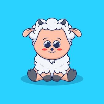 Schattige schapenillustratie in plat ontwerp