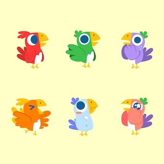 Schattige schattige expressieve kleurrijke vogel illustratie activa collectie