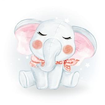 Schattige schattige kawaii baby olifant aquarel illustratie
