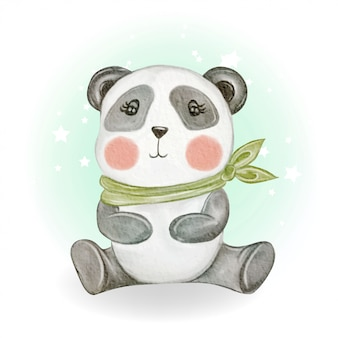 Schattige schattige kawaii baby panda aquarel illustratie