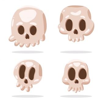 Schattige schedel vector stripfiguren set geïsoleerd.