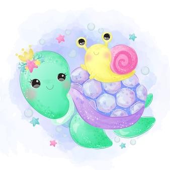 Schattige schildpad en slak aquarel stijl.
