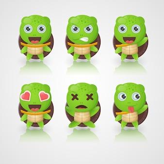 Schattige schildpad karakters in verschillende uitdrukkingen