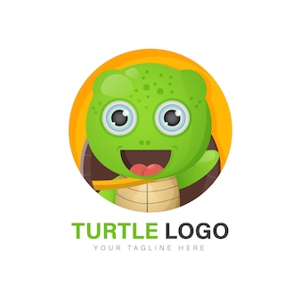 Schattige schildpad logo ontwerp