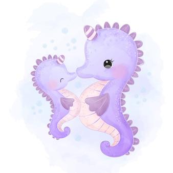 Schattige seahorse moederschap illustratie in aquarel