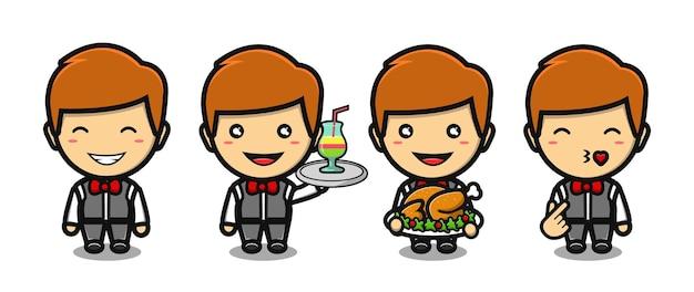 Schattige serveerster jongen mascotte tekenfilm set