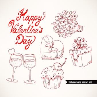Schattige set valentijnsdag met geschenken, bloemen en glazen champagne